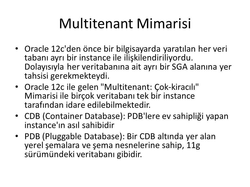 Multitenant Mimarisi Oracle 12c'den önce bir bilgisayarda yaratılan her veri tabanı ayrı bir instance ile ilişkilendiriliyordu. Dolayısıyla her verita