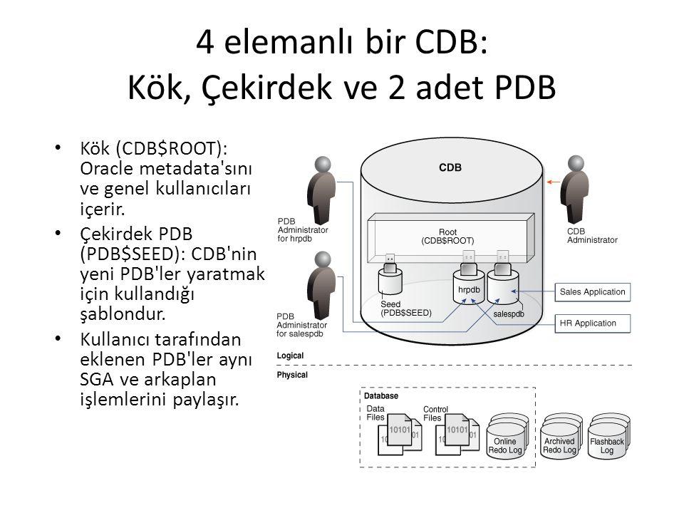 4 elemanlı bir CDB: Kök, Çekirdek ve 2 adet PDB Kök (CDB$ROOT): Oracle metadata'sını ve genel kullanıcıları içerir. Çekirdek PDB (PDB$SEED): CDB'nin y