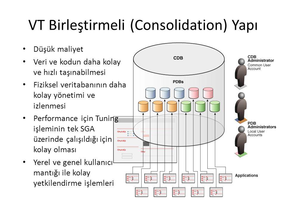 VT Birleştirmeli (Consolidation) Yapı Düşük maliyet Veri ve kodun daha kolay ve hızlı taşınabilmesi Fiziksel veritabanının daha kolay yönetimi ve izlenmesi Performance için Tuning işleminin tek SGA üzerinde çalışıldığı için kolay olması Yerel ve genel kullanıcı mantığı ile kolay yetkilendirme işlemleri