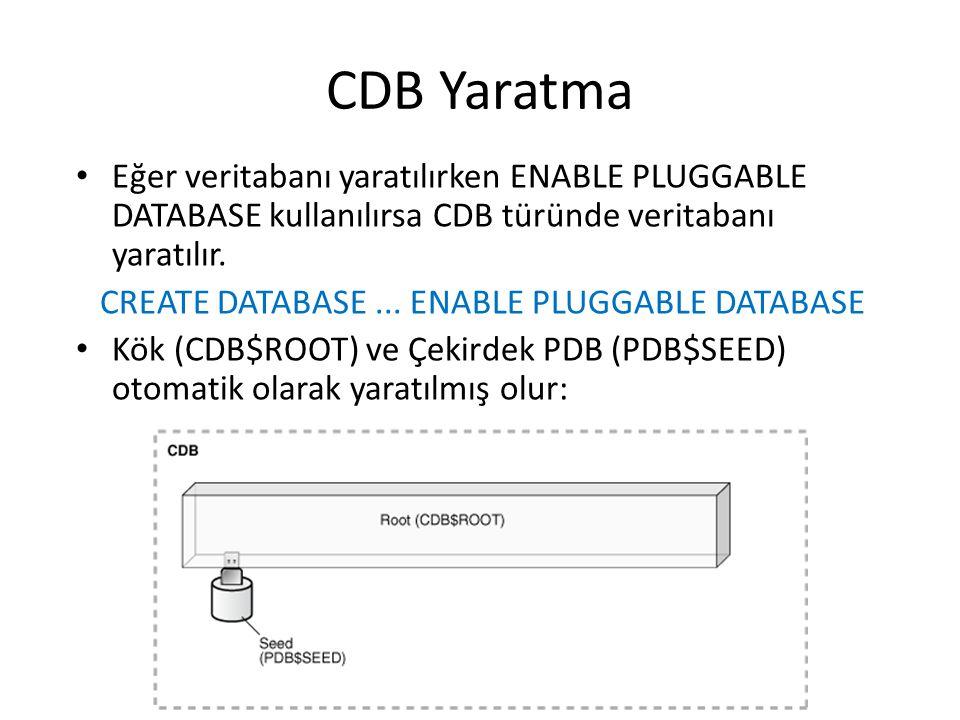 CDB Yaratma Eğer veritabanı yaratılırken ENABLE PLUGGABLE DATABASE kullanılırsa CDB türünde veritabanı yaratılır. CREATE DATABASE... ENABLE PLUGGABLE