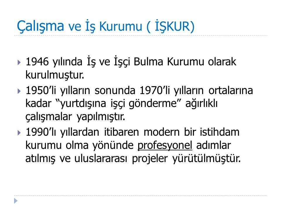 Çalışma ve İş Kurumu ( İŞKUR)  2003 Yılında 4904 sayılı Kanunla Türkiye İş Kurumu (İŞKUR) olarak yeniden yapılandırılmıştır.