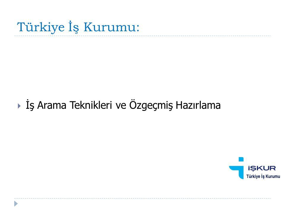 Türkiye İş Kurumu:  İş Arama Teknikleri ve Özgeçmiş Hazırlama