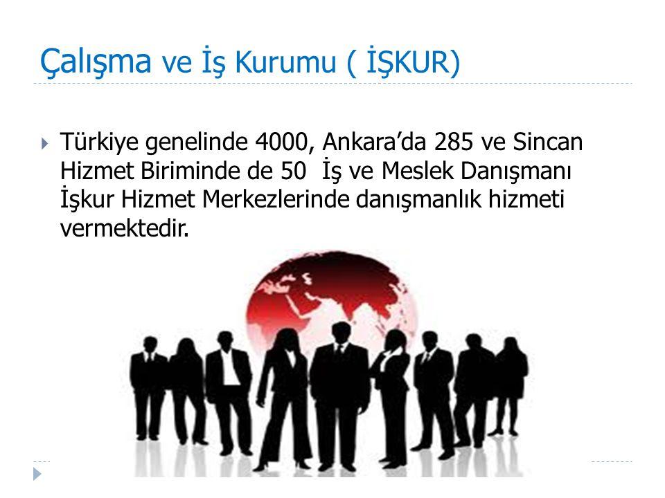 Çalışma ve İş Kurumu ( İŞKUR)  Türkiye genelinde 4000, Ankara'da 285 ve Sincan Hizmet Biriminde de 50 İş ve Meslek Danışmanı İşkur Hizmet Merkezlerin