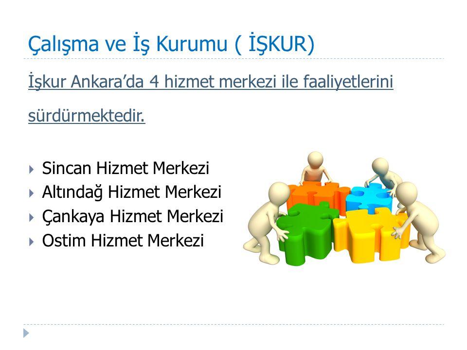 Çalışma ve İş Kurumu ( İŞKUR) İşkur Ankara'da 4 hizmet merkezi ile faaliyetlerini sürdürmektedir.  Sincan Hizmet Merkezi  Altındağ Hizmet Merkezi 