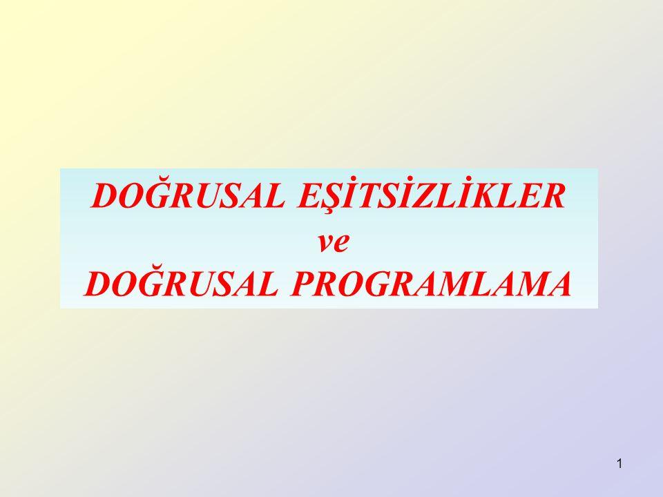 1 DOĞRUSAL EŞİTSİZLİKLER ve DOĞRUSAL PROGRAMLAMA
