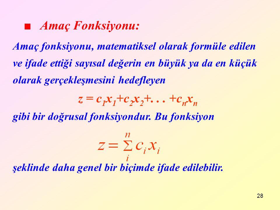 28 Amaç fonksiyonu, matematiksel olarak formüle edilen ve ifade ettiği sayısal değerin en büyük ya da en küçük olarak gerçekleşmesini hedefleyen z = c