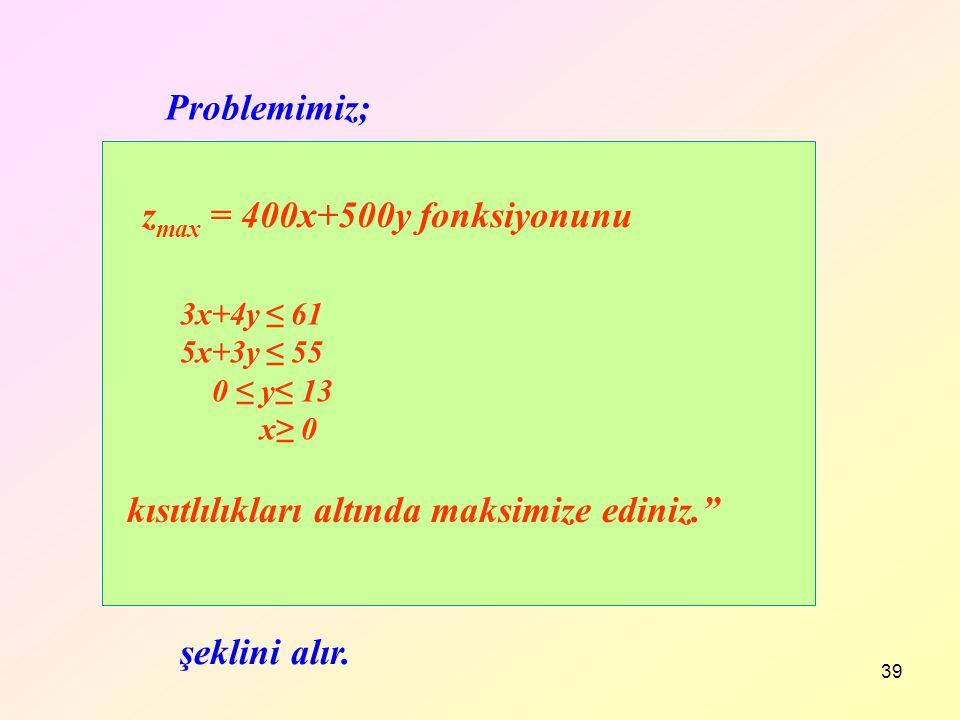"39 Problemimiz; kısıtlılıkları altında maksimize ediniz."" z max = 400x+500y fonksiyonunu şeklini alır. 3x+4y ≤ 61 5x+3y ≤ 55 0 ≤ y≤ 13 x≥ 0"
