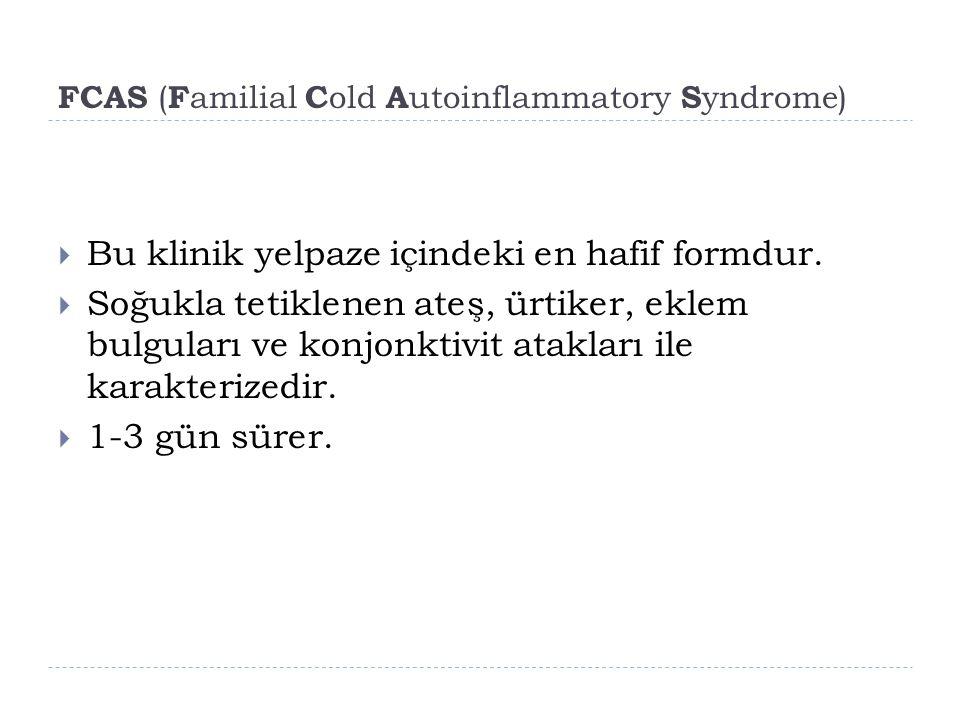 FCAS ( F amilial C old A utoinflammatory S yndrome)  Bu klinik yelpaze içindeki en hafif formdur.