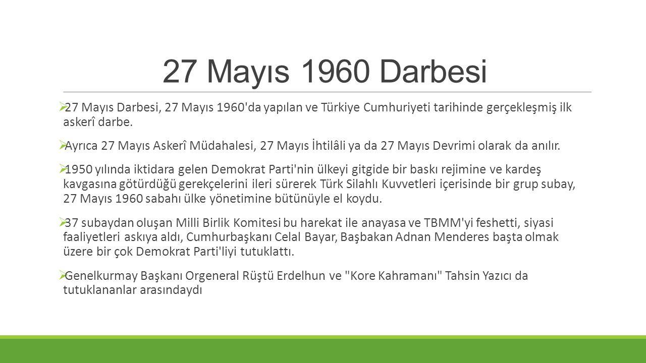  27 Mayıs Darbesi, 27 Mayıs 1960'da yapılan ve Türkiye Cumhuriyeti tarihinde gerçekleşmiş ilk askerî darbe.  Ayrıca 27 Mayıs Askerî Müdahalesi, 27 M
