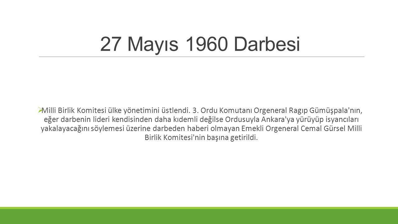 27 Mayıs 1960 Darbesi  Milli Birlik Komitesi ülke yönetimini üstlendi. 3. Ordu Komutanı Orgeneral Ragıp Gümüşpala'nın, eğer darbenin lideri kendisind
