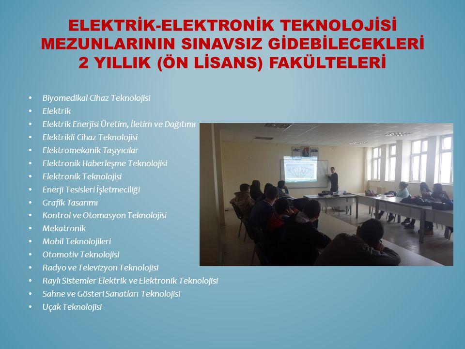 ELEKTRİK-ELEKTRONİK TEKNOLOJİSİ MEZUNLARININ SINAVSIZ GİDEBİLECEKLERİ 2 YILLIK (ÖN LİSANS) FAKÜLTELERİ Biyomedikal Cihaz Teknolojisi Elektrik Elektrik Enerjisi Üretim, İletim ve Dağıtımı Elektrikli Cihaz Teknolojisi Elektromekanik Taşıyıcılar Elektronik Haberleşme Teknolojisi Elektronik Teknolojisi Enerji Tesisleri İşletmeciliği Grafik Tasarımı Kontrol ve Otomasyon Teknolojisi Mekatronik Mobil Teknolojileri Otomotiv Teknolojisi Radyo ve Televizyon Teknolojisi Raylı Sistemler Elektrik ve Elektronik Teknolojisi Sahne ve Gösteri Sanatları Teknolojisi Uçak Teknolojisi