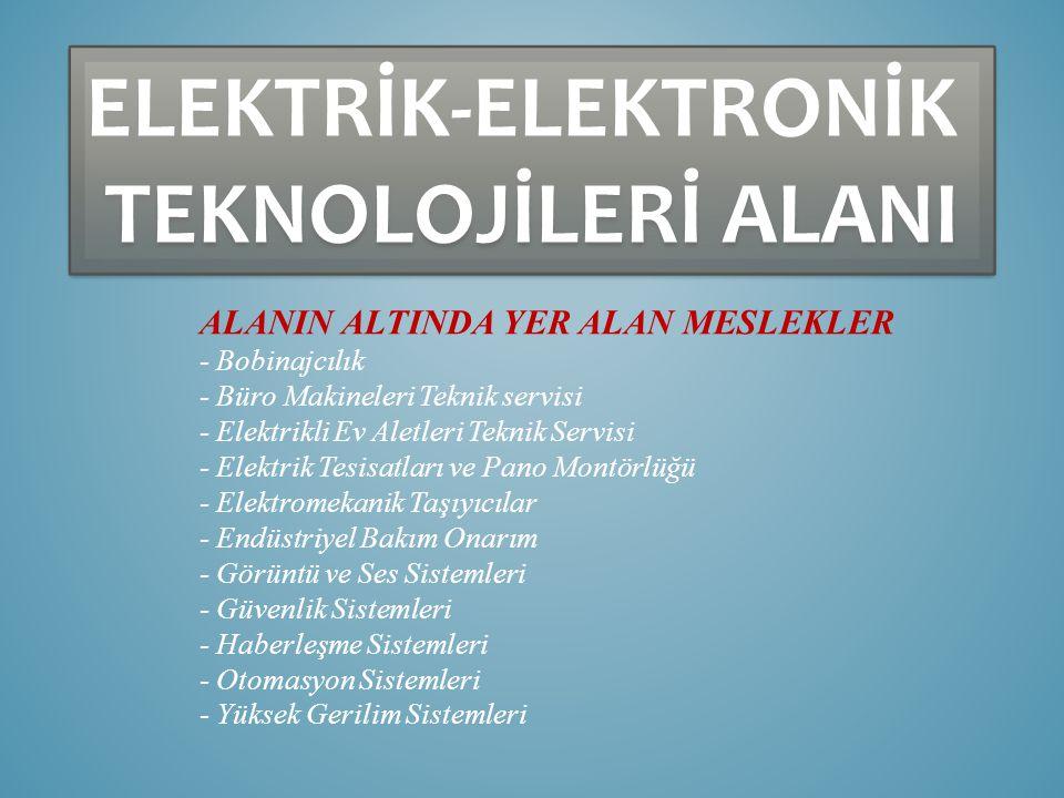 ELEKTRİK-ELEKTRONİK TEKNOLOJİLERİ ALANI ELEKTRİK-ELEKTRONİK TEKNOLOJİLERİ ALANI ALANIN ALTINDA YER ALAN MESLEKLER - Bobinajcılık - Büro Makineleri Teknik servisi - Elektrikli Ev Aletleri Teknik Servisi - Elektrik Tesisatları ve Pano Montörlüğü - Elektromekanik Taşıyıcılar - Endüstriyel Bakım Onarım - Görüntü ve Ses Sistemleri - Güvenlik Sistemleri - Haberleşme Sistemleri - Otomasyon Sistemleri - Yüksek Gerilim Sistemleri