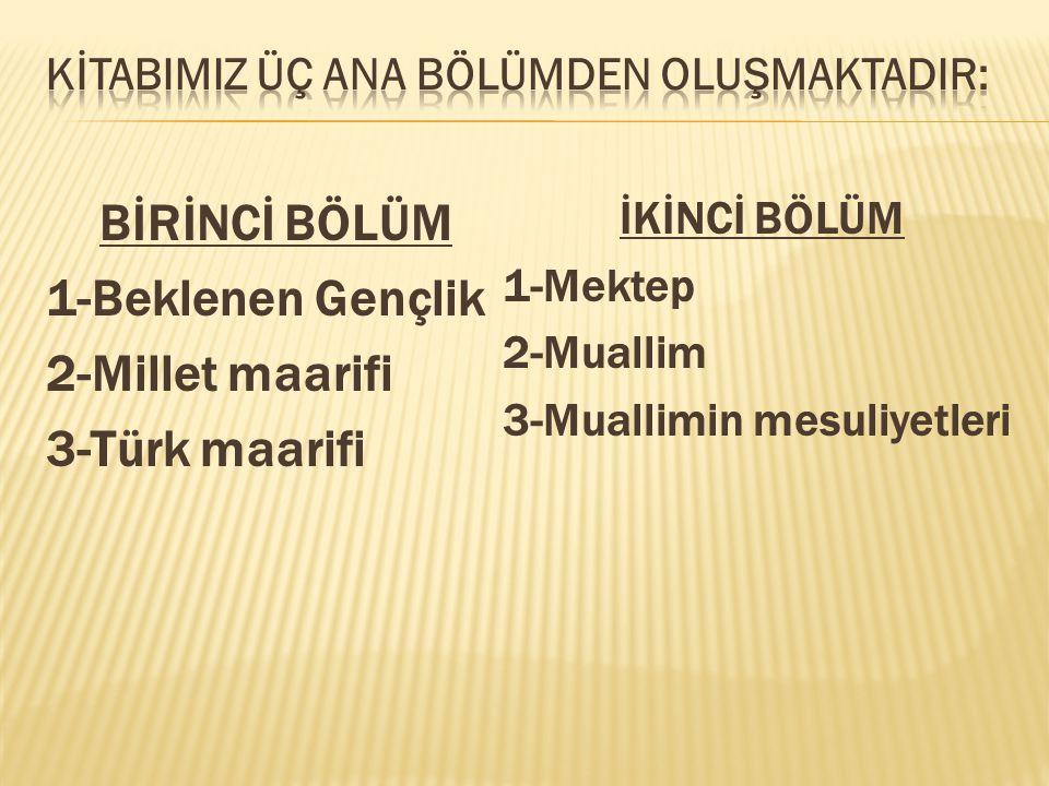 BİRİNCİ BÖLÜM 1-Beklenen Gençlik 2-Millet maarifi 3-Türk maarifi İKİNCİ BÖLÜM 1-Mektep 2-Muallim 3-Muallimin mesuliyetleri