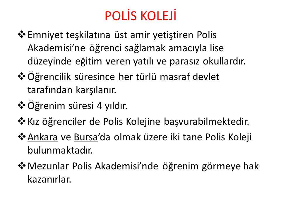 Polis Koleji sınavları iki aşamalı olarak yapılmaktadır: 1.POLİS KOLEJİ ADAY TESPİT SINAVI(SBS'YLE AYNI) 2.POLİS KOLEJİNE GİRİŞ SINAVI 2-a)YAZILI(TEST) SINAV 2-b)BEDEN EĞİTİMİ SINAVI 2-c)MÜLAKAT