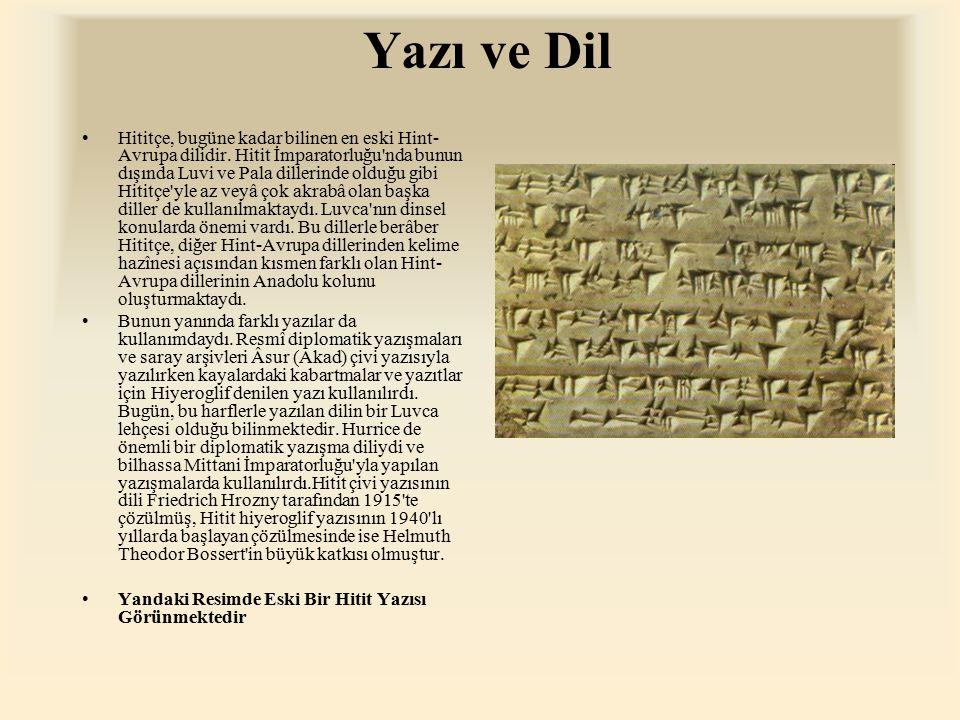 Yazı ve Dil Hititçe, bugüne kadar bilinen en eski Hint- Avrupa dilidir. Hitit İmparatorluğu'nda bunun dışında Luvi ve Pala dillerinde olduğu gibi Hiti