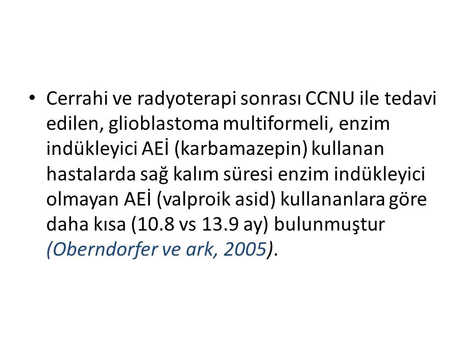 Cerrahi ve radyoterapi sonrası CCNU ile tedavi edilen, glioblastoma multiformeli, enzim indükleyici AEİ (karbamazepin) kullanan hastalarda sağ kalım s