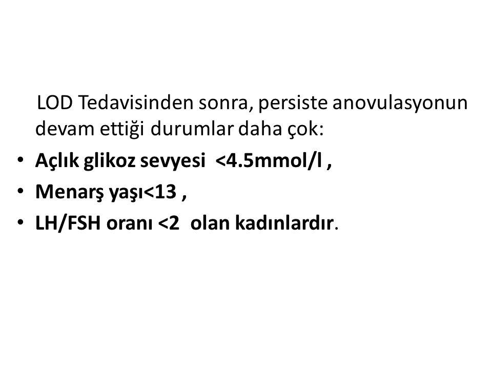 LOD Tedavisinden sonra, persiste anovulasyonun devam ettiği durumlar daha çok: Açlık glikoz sevyesi <4.5mmol/l, Menarş yaşı<13, LH/FSH oranı <2 olan k