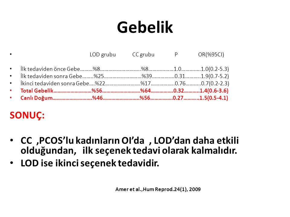 Gebelik LOD grubu CC grubu P OR(%95CI) İlk tedaviden önce Gebe………%8………………………..%8………………1.0…………..1.0(0.2-5.3) İlk tedaviden sonra Gebe……..%25………………………%3