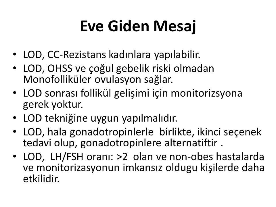 Eve Giden Mesaj LOD, CC-Rezistans kadınlara yapılabilir. LOD, OHSS ve çoğul gebelik riski olmadan Monofolliküler ovulasyon sağlar. LOD sonrası follikü