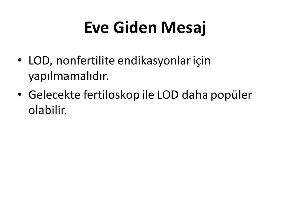 Eve Giden Mesaj LOD, nonfertilite endikasyonlar için yapılmamalıdır. Gelecekte fertiloskop ile LOD daha popüler olabilir.