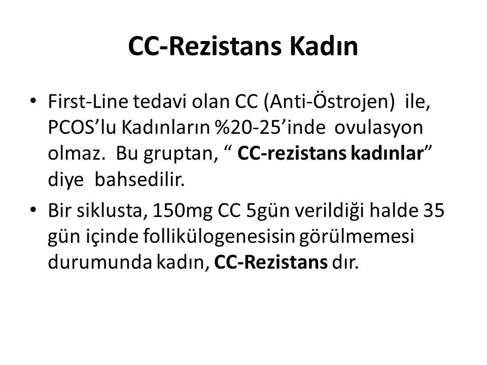 """CC-Rezistans Kadın First-Line tedavi olan CC (Anti-Östrojen) ile, PCOS'lu Kadınların %20-25'inde ovulasyon olmaz. Bu gruptan, """" CC-rezistans kadınlar"""""""
