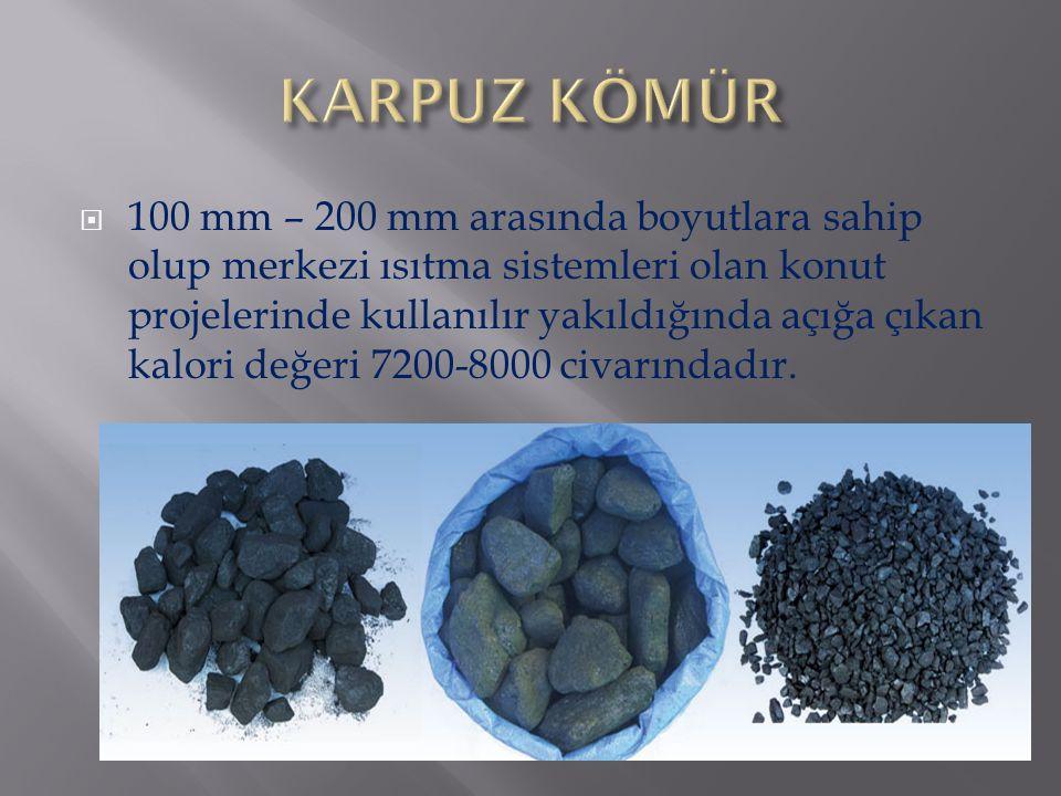  100 mm – 200 mm arasında boyutlara sahip olup merkezi ısıtma sistemleri olan konut projelerinde kullanılır yakıldığında açığa çıkan kalori değeri 72