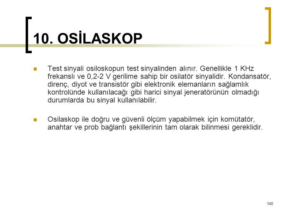 140 10. OSİLASKOP Test sinyali osiloskopun test sinyalinden alınır. Genellikle 1 KHz frekanslı ve 0,2-2 V gerilime sahip bir osilatör sinyalidir. Kond