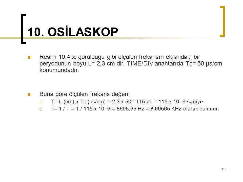 148 10. OSİLASKOP Resim 10.4'te görüldüğü gibi ölçülen frekansın ekrandaki bir peryodunun boyu L= 2,3 cm dir. TIME/DIV anahtarıda Tc= 50 μs/cm konumun