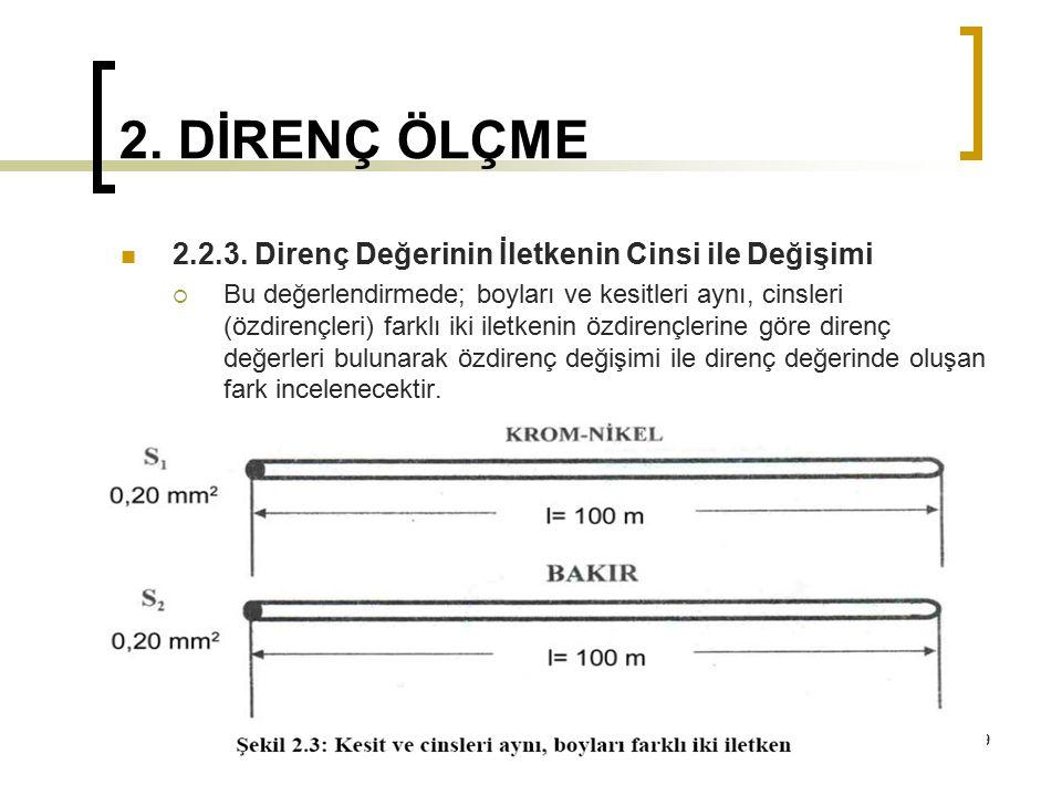 69 2. DİRENÇ ÖLÇME 2.2.3. Direnç Değerinin İletkenin Cinsi ile Değişimi  Bu değerlendirmede; boyları ve kesitleri aynı, cinsleri (özdirençleri) farkl