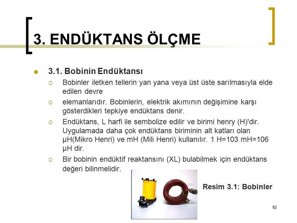 82 3. ENDÜKTANS ÖLÇME 3.1. Bobinin Endüktansı  Bobinler iletken tellerin yan yana veya üst üste sarılmasıyla elde edilen devre  elemanlarıdır. Bobin