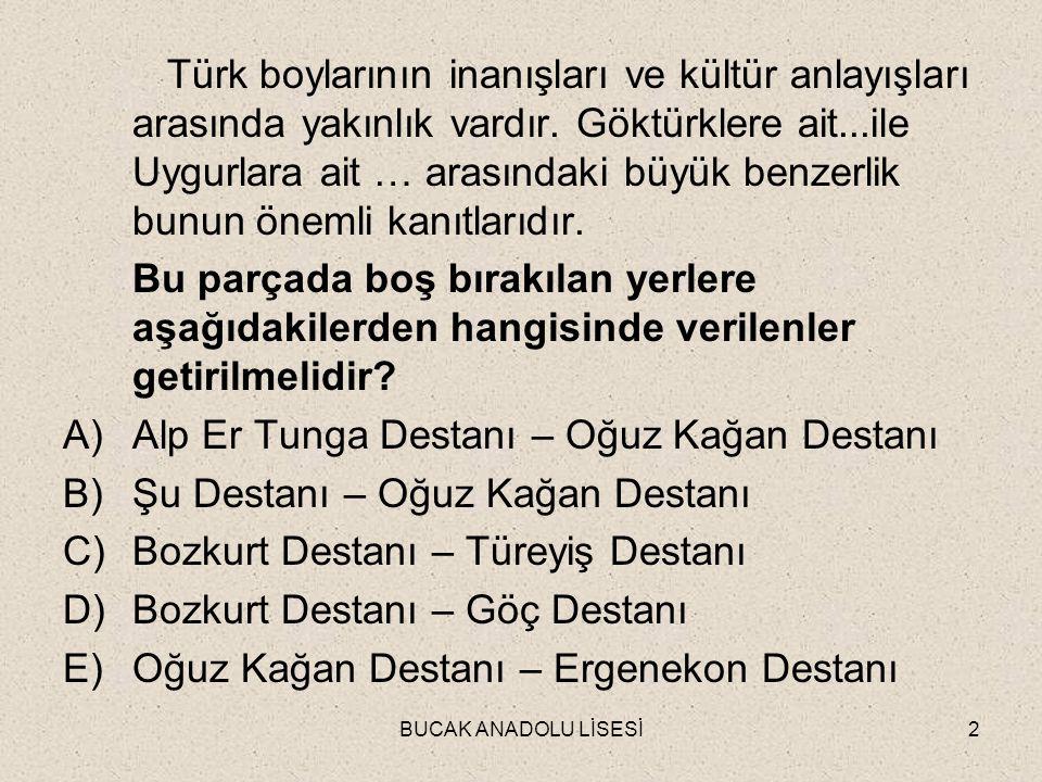 BUCAK ANADOLU LİSESİ2 Türk boylarının inanışları ve kültür anlayışları arasında yakınlık vardır.