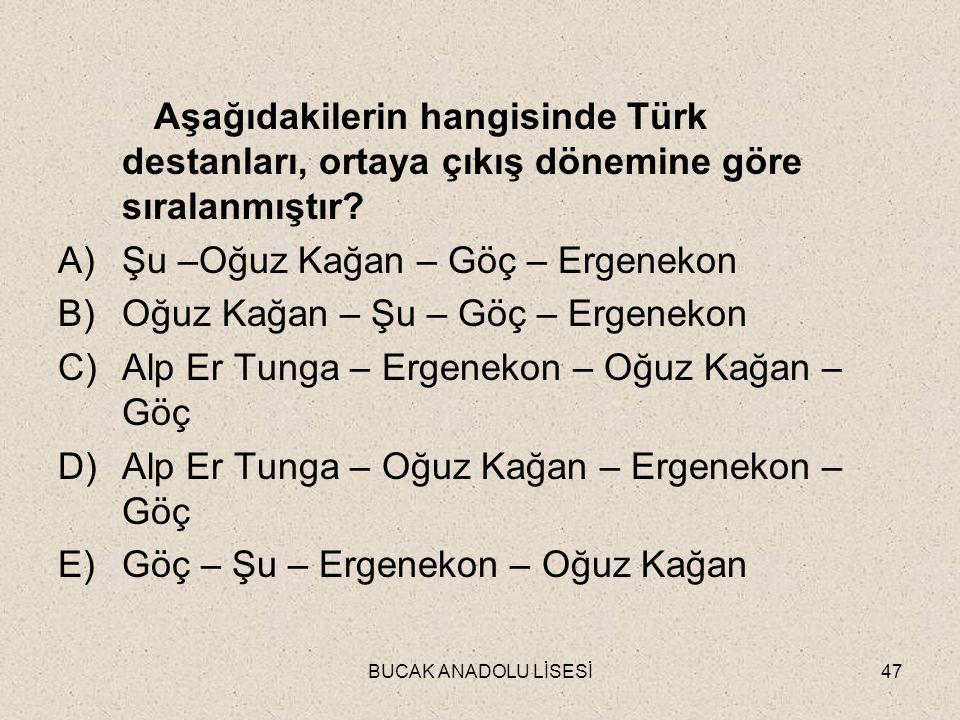 BUCAK ANADOLU LİSESİ47 Aşağıdakilerin hangisinde Türk destanları, ortaya çıkış dönemine göre sıralanmıştır.