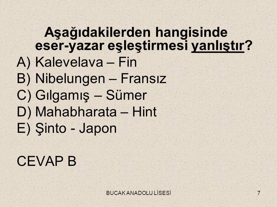 BUCAK ANADOLU LİSESİ7 Aşağıdakilerden hangisinde eser-yazar eşleştirmesi yanlıştır.
