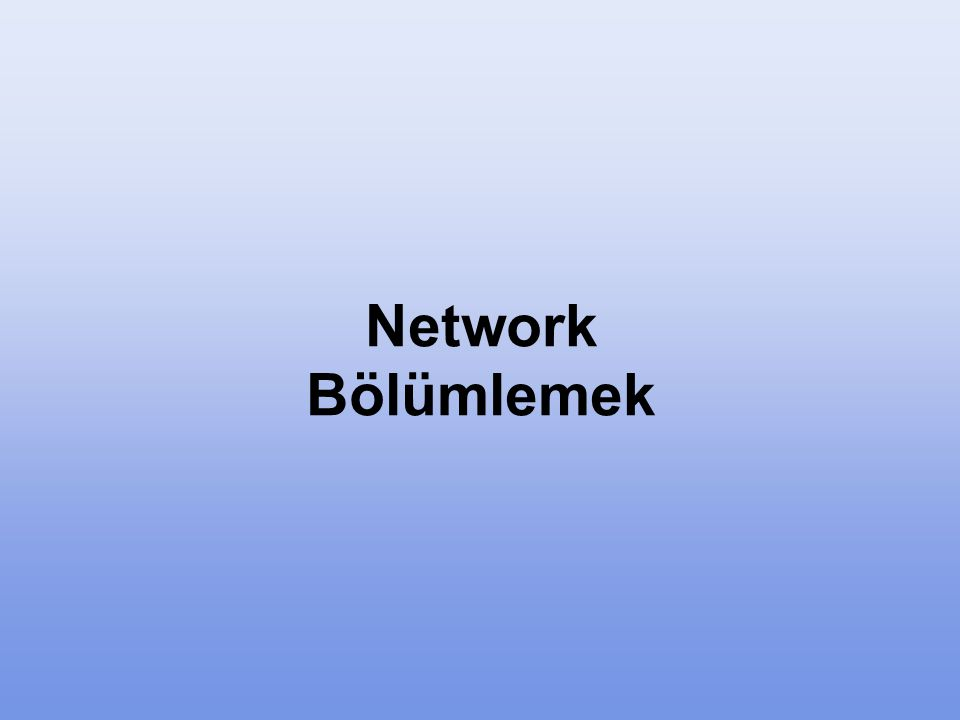 Network Bölümlemek Adres yönetimi kolaylığı, güvenlik sağlamak ve performans artışı sağlamak için Networkleri küçük parçalara böleriz.