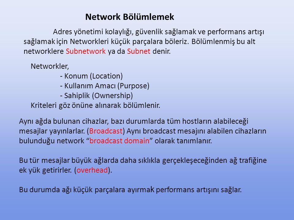Network Adres + Subnet Mask ikilisi bir grup mantıksal adresi temsil eder.