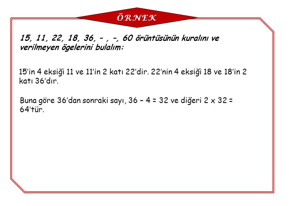 15, 11, 22, 18, 36, –, –, 60 örüntüsünün kuralını ve verilmeyen ögelerini bulalım: 15'in 4 eksiği 11 ve 11'in 2 katı 22'dir. 22'nin 4 eksiği 18 ve 18'