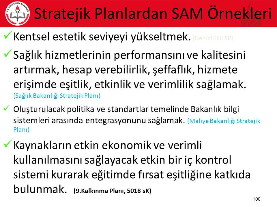 Stratejik Planlardan SAM Örnekleri Kentsel estetik seviyeyi yükseltmek. (Denizli İÖİ SP) Sağlık hizmetlerinin performansını ve kalitesini artırmak, he