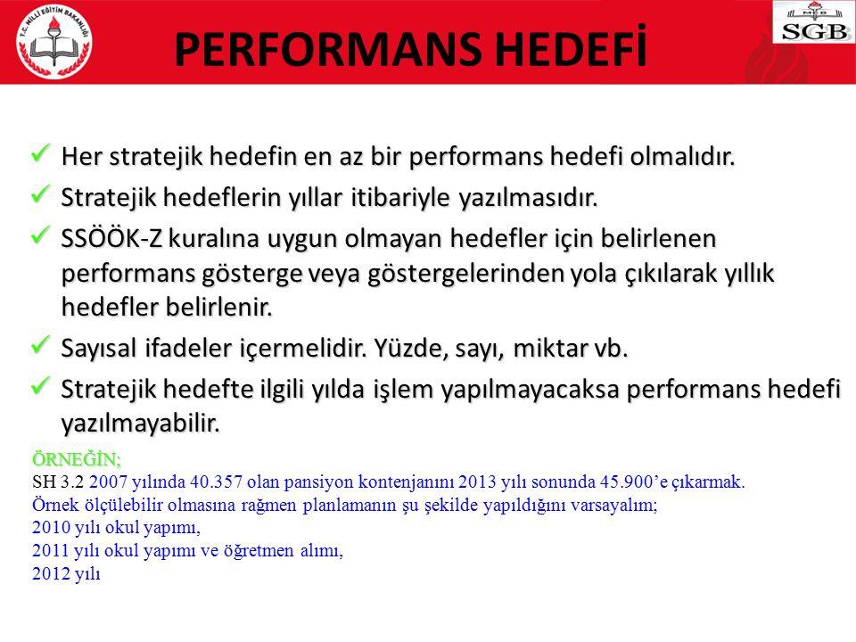 PERFORMANS HEDEFİ Her stratejik hedefin en az bir performans hedefi olmalıdır. Her stratejik hedefin en az bir performans hedefi olmalıdır. Stratejik