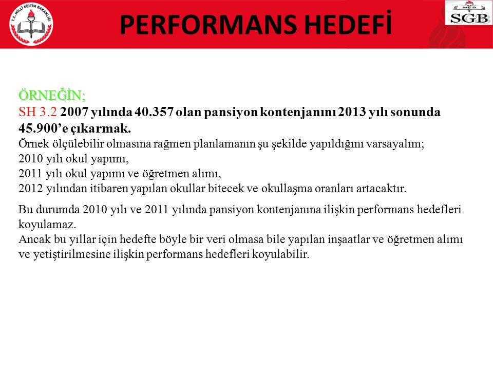 PERFORMANS HEDEFİ ÖRNEĞİN; SH 3.2 2007 yılında 40.357 olan pansiyon kontenjanını 2013 yılı sonunda 45.900'e çıkarmak. Örnek ölçülebilir olmasına rağme