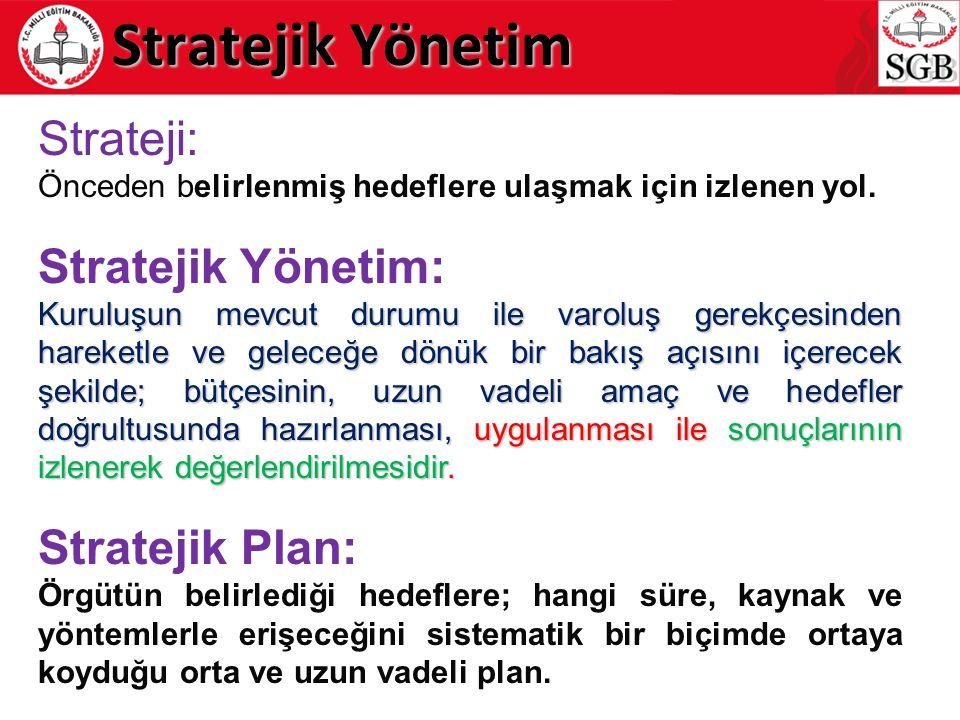 Strateji: Önceden belirlenmiş hedeflere ulaşmak için izlenen yol. Stratejik Yönetim: Kuruluşun mevcut durumu ile varoluş gerekçesinden hareketle ve ge