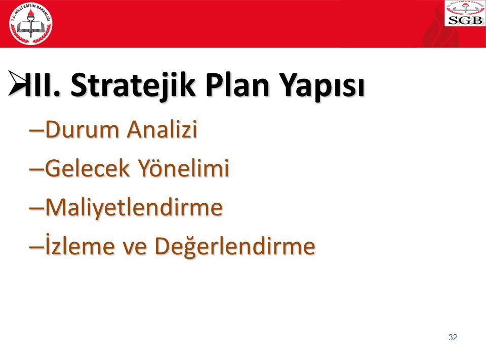  III. Stratejik Plan Yapısı – Durum Analizi – Gelecek Yönelimi – Maliyetlendirme – İzleme ve Değerlendirme 32