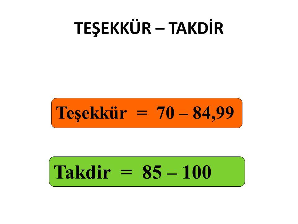 TEŞEKKÜR – TAKDİR Teşekkür = 70 – 84,99 Takdir = 85 – 100