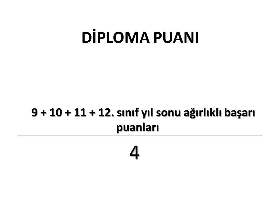 DİPLOMA PUANI 9 + 10 + 11 + 12. sınıf yıl sonu ağırlıklı başarı puanları 9 + 10 + 11 + 12. sınıf yıl sonu ağırlıklı başarı puanları 4