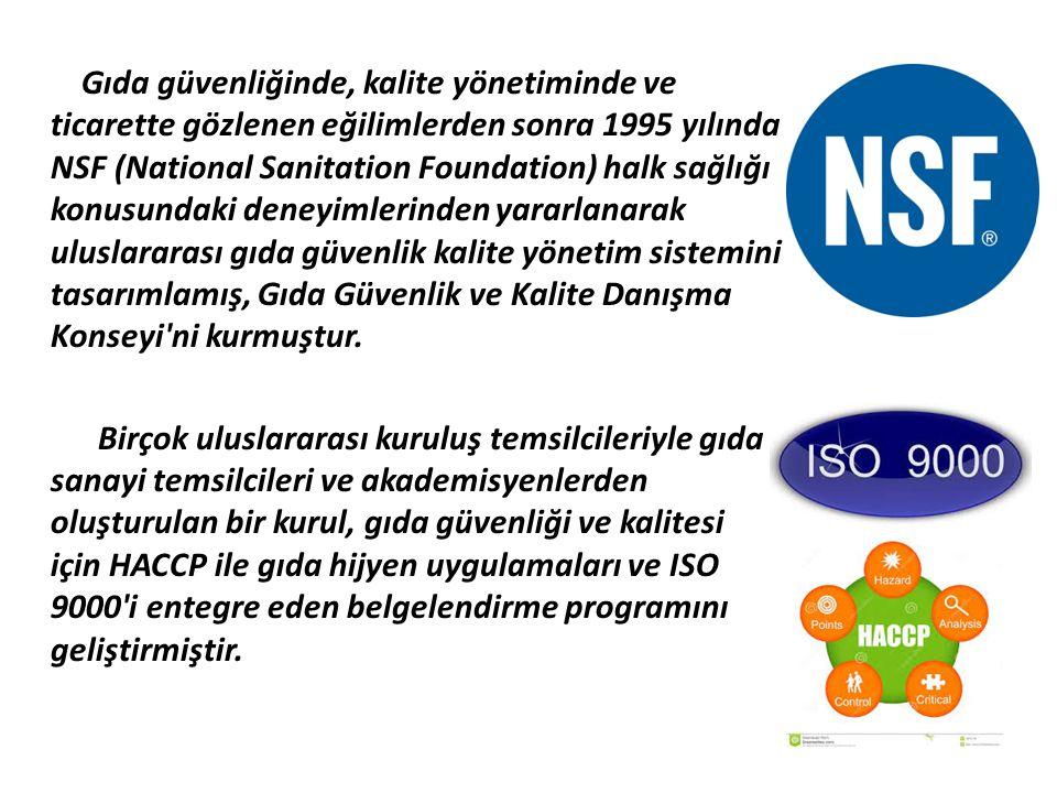 Gıda güvenliğinde, kalite yönetiminde ve ticarette gözlenen eğilimlerden sonra 1995 yılında NSF (National Sanitation Foundation) halk sağlığı konusundaki deneyimlerinden yararlanarak uluslararası gıda güvenlik kalite yönetim sistemini tasarımlamış, Gıda Güvenlik ve Kalite Danışma Konseyi ni kurmuştur.