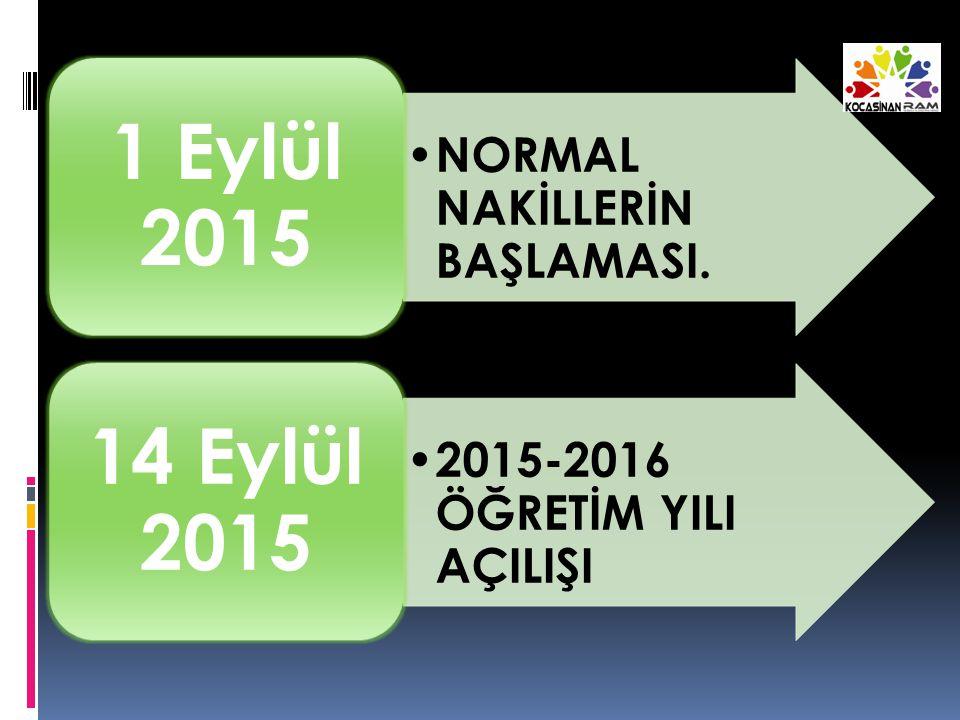 NORMAL NAKİLLERİN BAŞLAMASI. 1 Eylül 2015 2015-2016 ÖĞRETİM YILI AÇILIŞI 14 Eylül 2015