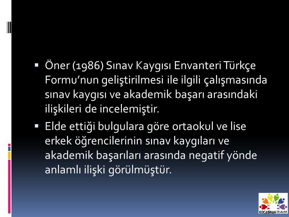  Öner (1986) Sınav Kaygısı Envanteri Türkçe Formu'nun geliştirilmesi ile ilgili çalışmasında sınav kaygısı ve akademik başarı arasındaki ilişkileri de incelemiştir.