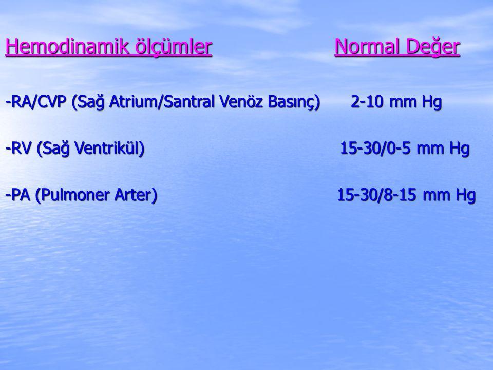 Hemodinamik ölçümler Normal Değer -RA/CVP (Sağ Atrium/Santral Venöz Basınç) 2-10 mm Hg -RV (Sağ Ventrikül) 15-30/0-5 mm Hg -PA (Pulmoner Arter) 15-30/8-15 mm Hg