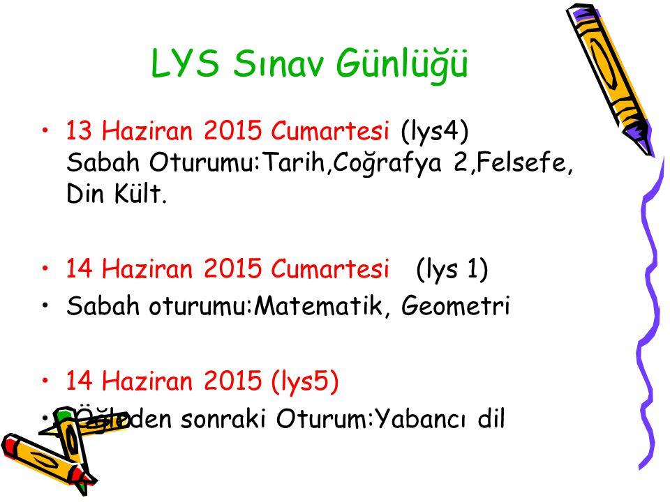 LYS Sınav Günlüğü 13 Haziran 2015 Cumartesi (lys4) Sabah Oturumu:Tarih,Coğrafya 2,Felsefe, Din Kült. 14 Haziran 2015 Cumartesi (lys 1) Sabah oturumu:M