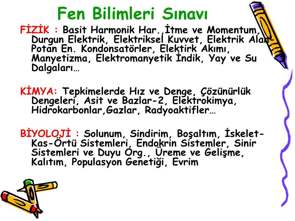 Fen Bilimleri Sınavı FİZİK : Basit Harmonik Har.,İtme ve Momentum, Durgun Elektrik, Elektriksel Kuvvet, Elektrik Alan- Potan En.