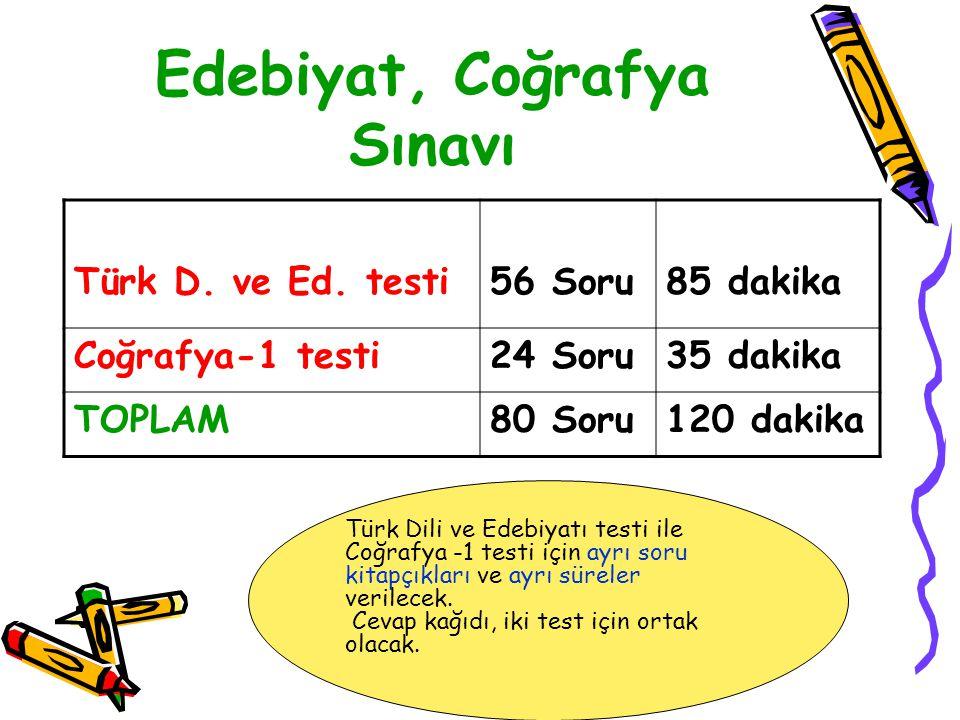 Edebiyat, Coğrafya Sınavı Türk D. ve Ed.